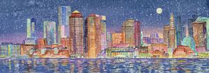 Boston Skyline Winter, panoramic
