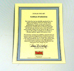 Certificate of Authenticity Thomas Dunlay
