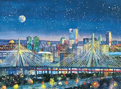 Side View Bridge Zakim Bridge Boston Side