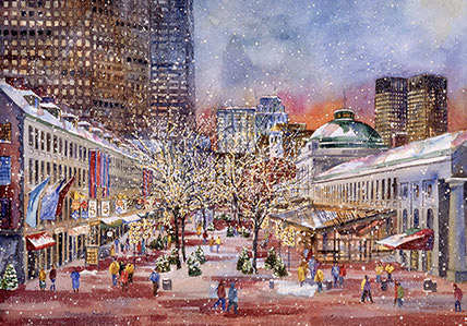 Holiday Time at Quincy Market, Boston: Massachusetts Bay Trading ...