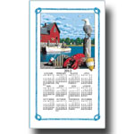 2012 Lobstering, Nautical Scene Calendar Towel