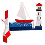 Sailboat and Lighthouse Whirligig