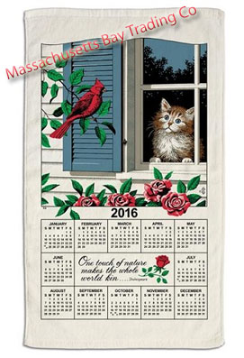 2016 Window Kitty Calendar Towel
