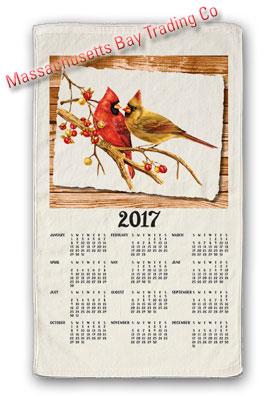 2017 Cardinal Pair Calendar Towel