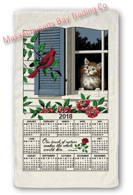 2018 Window Kitty Calendar Towel