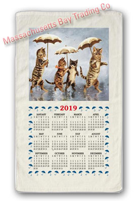 2019 Raining Cats Calendar Towel