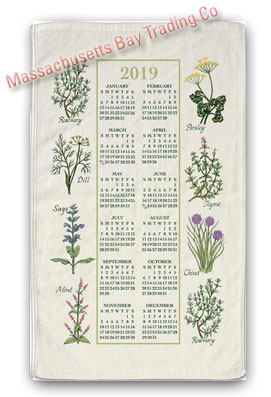 2019 Kitchen Herbs Calendar Towel