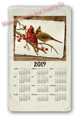 2019 Cardinal Pair Calendar Towel