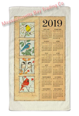 2019 Four Seasons Birds Calendar Towel