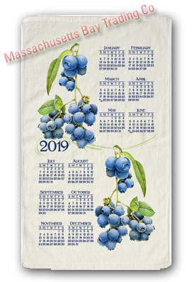 2019 Summer Blueberry Calendar Towel