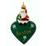 Santa with Love Boston Ornament